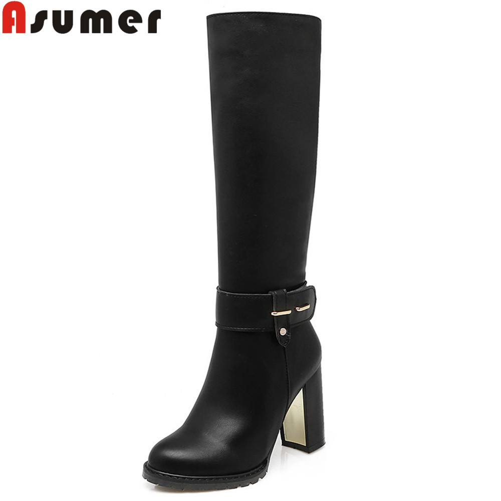 ASUMER 2018 hot sale new arrive women boots black brown white ladies boots winter zipper super high knee boots big size 34-43 asumer 2018 hot sale new arrive women