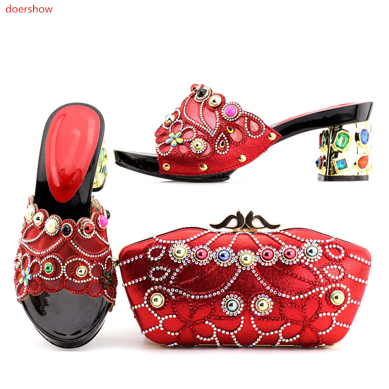 doershow good Looking African Women Matching Italian Shoe and Bag Set Italian Shoe with Matching Bag for Wedding DA1-6 fashion italy design italian matching shoe and bag set african wedding shoe and bag sets women shoe and bag to match tmm1 41