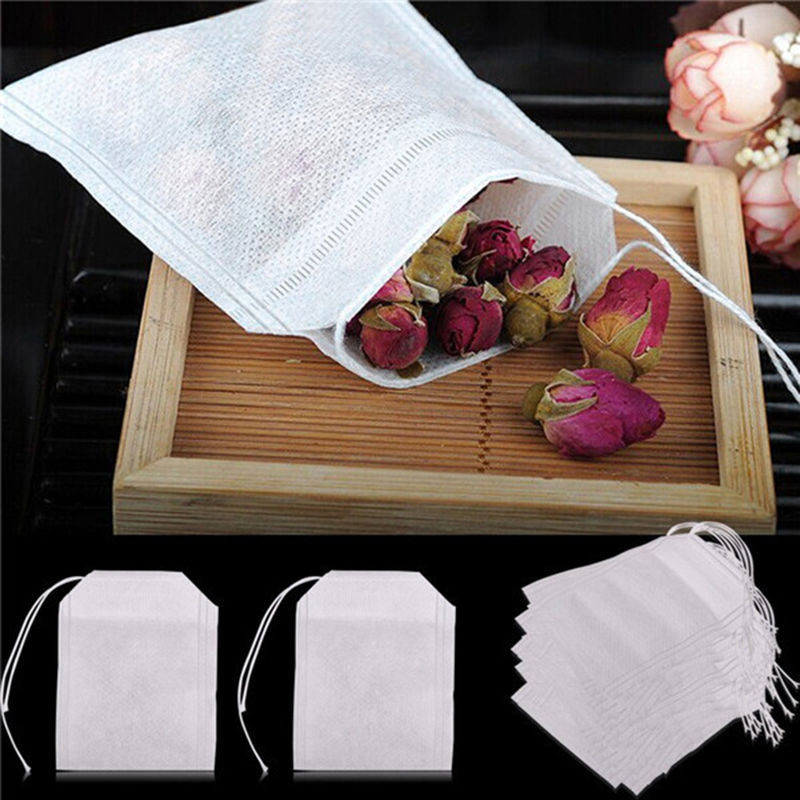 Teabags 5.5cmx7cm 100pcs Food Grade Empty Scented Tea Bags Infuser With String Heat Seal Filter Paper Herb Loose Tea Bag