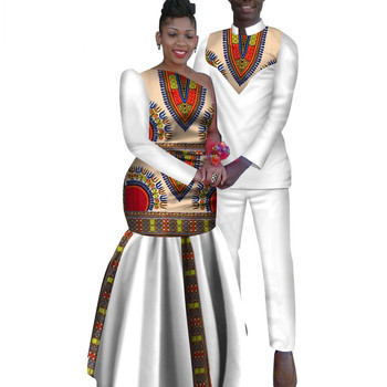e76b3b0a3b5 2 Piece Set African Dashiki Print Couple Clothing for Lovers Men s Shirt  and pant Women Dress Party Wedding Fashion WYQ16