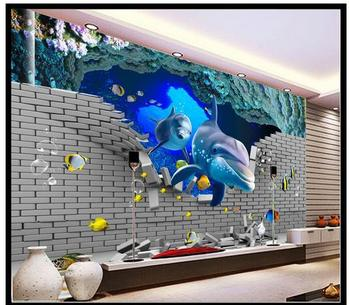 Custom photo wallpapers 3D murals underwater world dolphin living room TV background wall interior painting mural wall papers