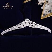 קוריאני כלות נוצץ זהב חתונה מצנפות כתרים מלא זירקון כלה Hairbands קריסטל שיער אביזרי חתונת שיער תכשיטים