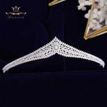 Korean Brides Sparkling Gold Wedding Tiaras Crowns Full Zircon Bridal Hairbands Crystal Hair Accessories Wedding Hair Jewelry