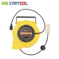 Mr Cartool 15m Strip 220V Automotive Electric Power Supply Auto Reel Automatic Retractable Reels Winder Car Workshop Store Tool