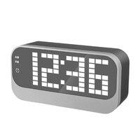 New Mirror LED Electronic Desk Clock Digital Alarm Clock Table Wooden Watch Desk Touch Luminous Bedside