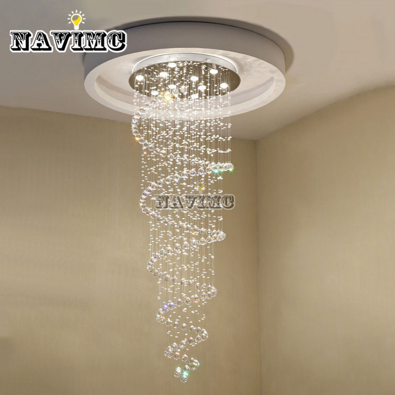 D55CM Modern led Spiral Lustre Crystal Chandelier Light Fixtures Long Stair Light for Staircase Hotel Foyer Living Room navimc moon and star spiral design crystal chandelier lustre stair light fixture for hotel hallway