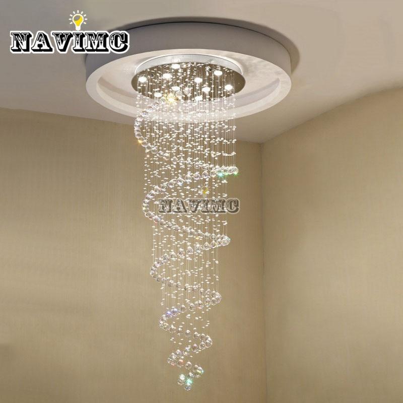 D55CM Modern led Spiral Lustre Crystal Chandelier Light Fixtures Long Stair Light for Staircase Hotel Foyer Living Room
