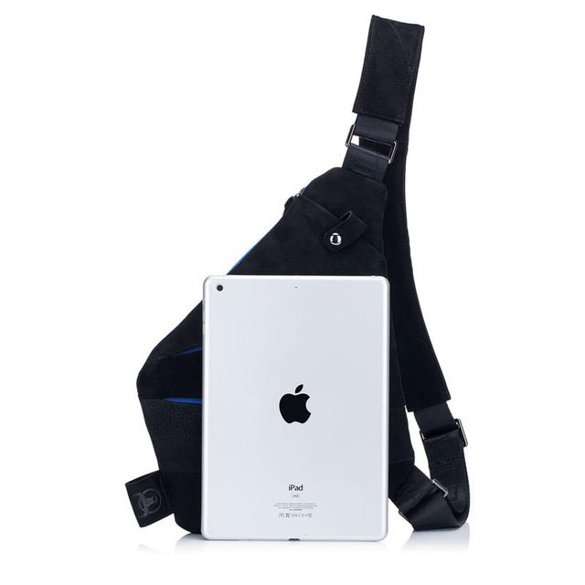 Men's Leather Messenger Bag with Secret Pockets