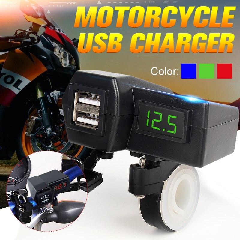 LED Digital Display Voltmeter Voltage Meter Monitor + Dual USB Power Socket Charger Plug for 12V 24V Car Motorcycle Boat Van ATV
