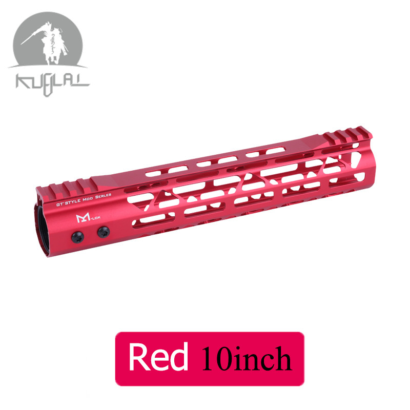 10 12 10 Inch MLOK <font><b>Handguard</b></font> Free Float Super Slim <font><b>Ar</b></font> <font><b>15</b></font> <font><b>Handguard</b></font> Quad Rail Red Black for M4 M16 AEG Scope Mount image