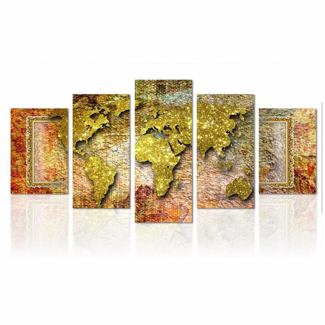 Abstract World Map 5 Piece Canvas Art Wall Pictures For Living Room ...