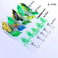 21pcs/box Assorted Bionic Frog Fishing Lures Hook Tackle Box Soft Rail Frog Crankbaits Swimbait Plastic Topwater Floating Tackle
