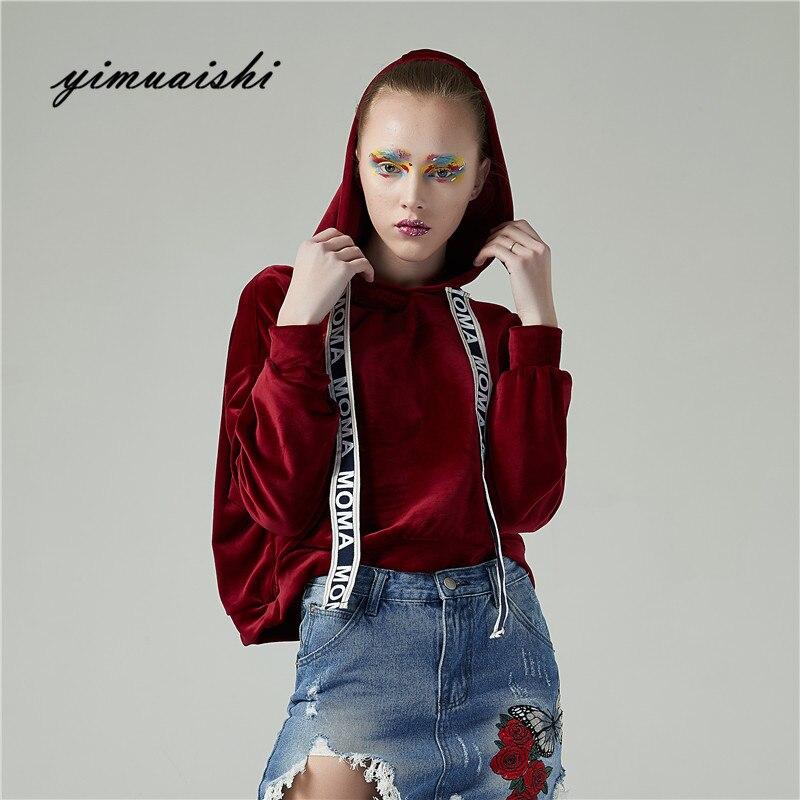 2018 Moletom Feminino Kpop Womens Sweatshirts Hoodie Embroidery Broadband Sweatshirt Sleeve Cropped Hooded Pullover Tolstovka
