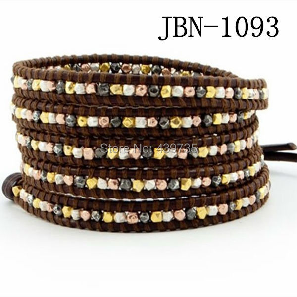 new arrival vintage Style weaving leather wrap bracelet african jewelry 4mm mix copper beads bracelet,adjusted size JBN-1093