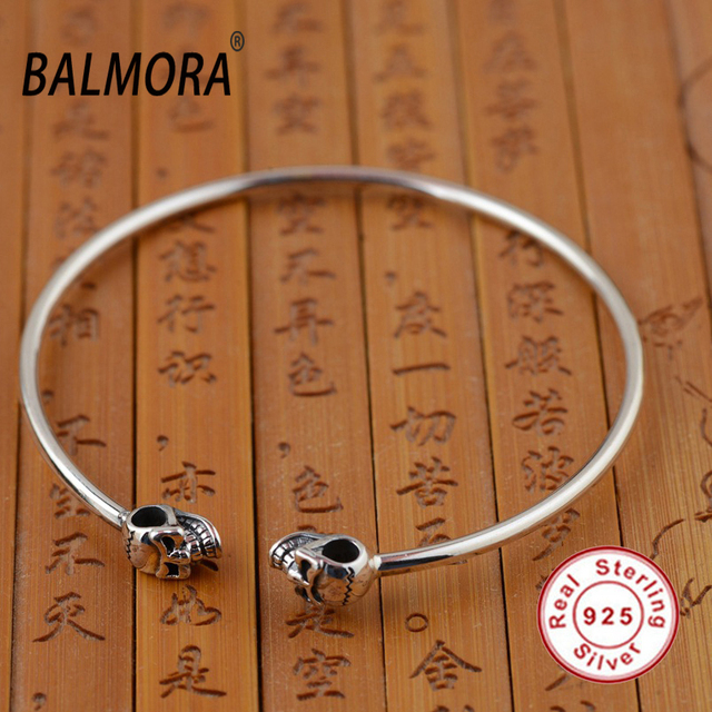 Wholesale 100% Real 925 Sterling Silver Jewelry Skull Open Bangles Bracelets for Women Men Gift High Quality Bijoux SY50203