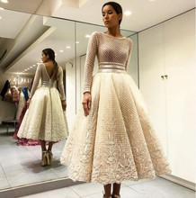 Long Sleeves 2019 Modest Tea Length Prom Dresses Lace Appliques Scoop Neck Short Women Evening Party Gowns Formal Robe De Soiree цены