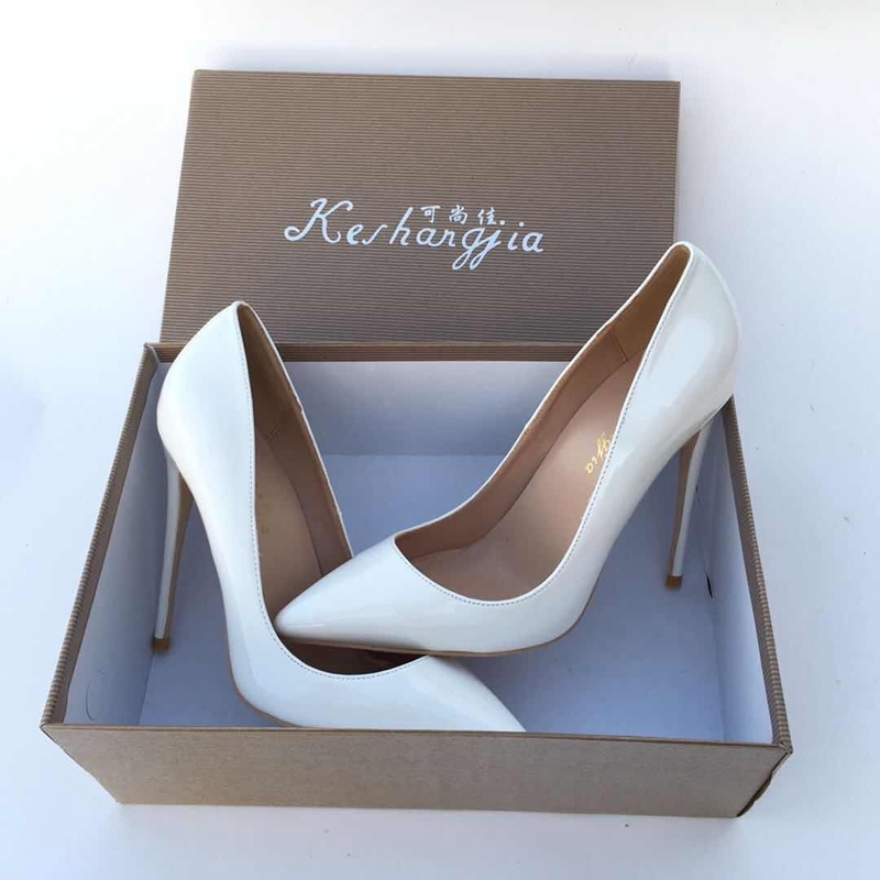 2018 White color pointed toe lady pumps pu leather shallow woman High heeled pumps sexy slip