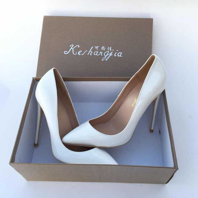 dce4be18400b 2018 White color pointed toe lady pumps pu leather shallow woman High-heeled  pumps sexy
