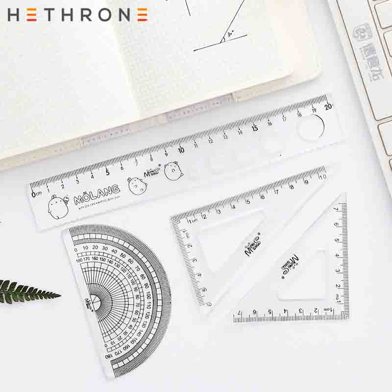 Hethrone 4Pcs/set Flamingo Student Drawing Rulers Triangular Protractor Straightedge Maths Stationery Tools Painting Suit
