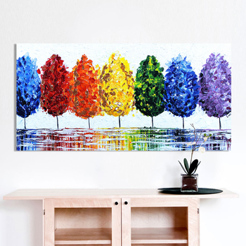 HDARTISAN Wall Art Canvas Oil Painting Rainbow Tree Wall Pictures For Living Room Home Decor No Frame