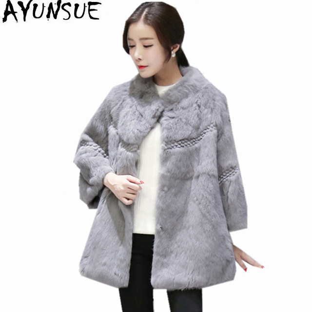 AYUNSUE Womens Real Rabbit Fur Coat Women s Stand Collar Natural Rabbit Fur  Jacket Women Warm Winter Coats Abrigo Mujer WXF424 78ed0feb7b