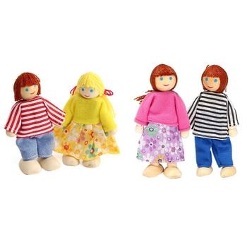 AINY-4x Wooden Dolls House Set Dolls Family Set For Kids Children фото