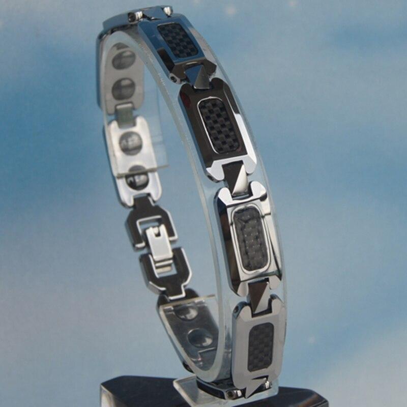classic design black color carbon fiber inlayed tungsten bracelet 3 color available 6164