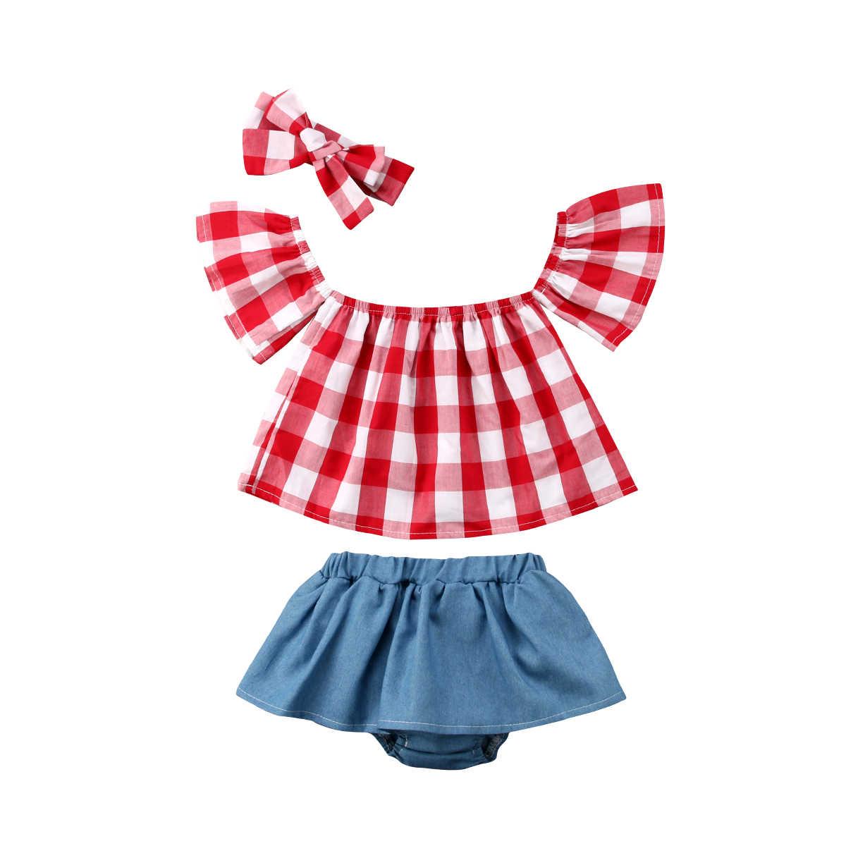 27477d6e3 3PCS Toddler Kids Baby Girls Clothing Summer T-shirt Tops Short Sleeve  Short Headbands Outfits
