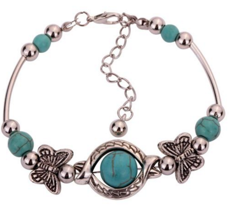 New Bead Butterfly Bangle Fashion Silver Pld Tibetan Bracelet 2017 Jewelry Adjust