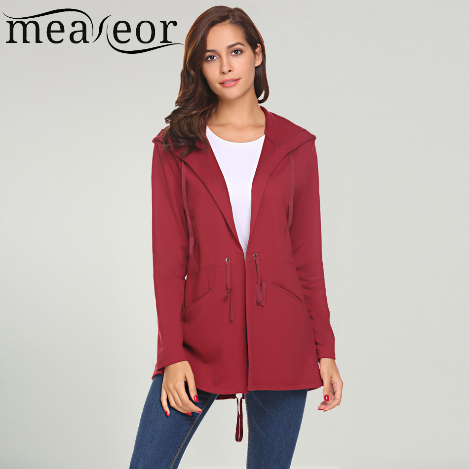 Meaneor Women Casual Hooded Full Sleeve Solid Long Cardigan Drawstring Waist Femme Cardi ...