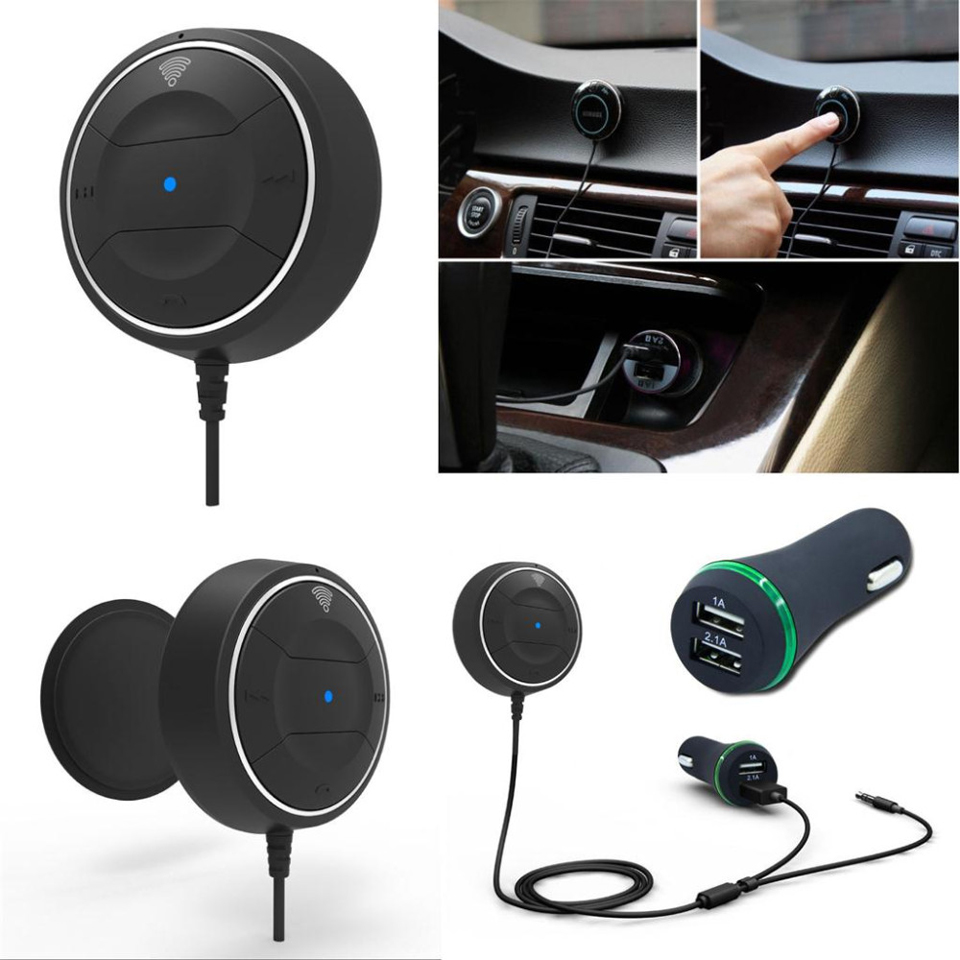 Bluetooth 4.0 Car kit with NFC Function +3.5mm AUX Receiver Dual USB 2.1A Music Receiver Handsfree Speakerphone Car Charger 10
