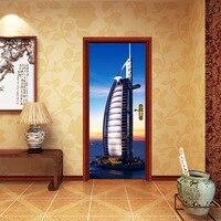 3D Door Sticker Night view tower Wall Mural Art Wallpaper Poster Stickers Self Adhesive Removable Home Door Decals Waterproof
