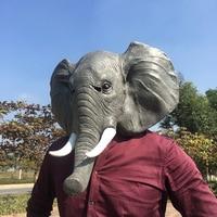 Funny Elephant Mask Halloween Creepy Full Face Mask Latex Horror Cosplay Animal Adults Masks Masquerade Party Elephant Face