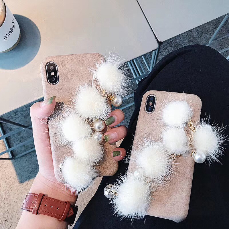 DIY <font><b>Case</b></font> For <font><b>iPhone</b></font> 6 6S Plus 7 8 Plus <font><b>Luxury</b></font> <font><b>Fur</b></font> Ball Diamond Metal Chain Glitter For Phone <font><b>Cases</b></font> For iphoneXs Xr Xs Max image