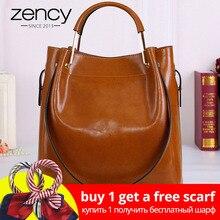 068e0be32 Zency أزياء البني 100% جلد طبيعي المرأة حقيبة يد بسيطة حقيبة تسوق سفر حقيبة  سعة