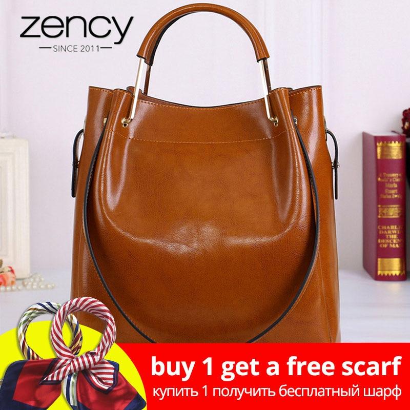 Zency Moda Marrón Bolso 100% cuero genuino de las mujeres bolso de mano simple del recorrido Bolsos de hombro de gran capacidad de la señora Crossbody monedero