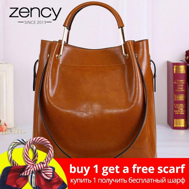Zency Fashion Brown 100% ehtne nahast naiste käekott Lihtne reisida kott kott suur maht suurte õlakottide crossbody rahakott