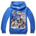Crianças meninos hoodies do jurássico dinossauro de manga longa com capuz camisolas outerwear