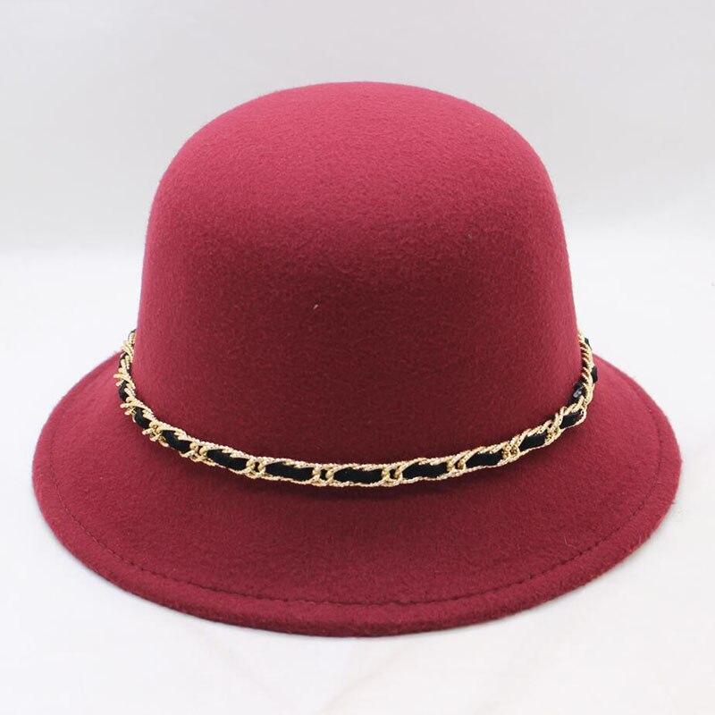 Womens fedora wool felt cloche hats vintage dome fishing hat elegant woman  jazz caps mens and ... bc96ba5734a7
