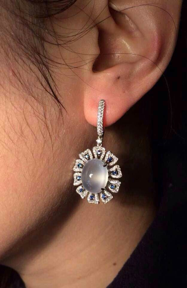 925 silver inlaid natural Moonstone earrings!