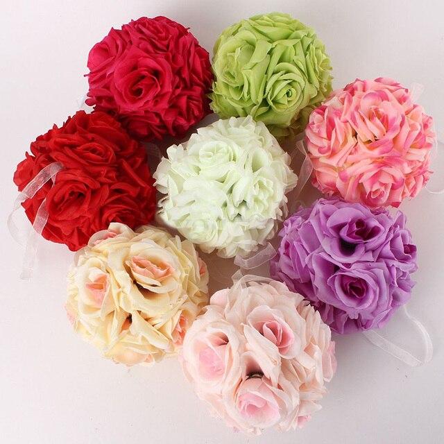 1pcs 15cm artificial silk flower rose kissing balls bouquet 1pcs 15cm artificial silk flower rose kissing balls bouquet centerpiece pomander party wedding centerpiece decorations mightylinksfo