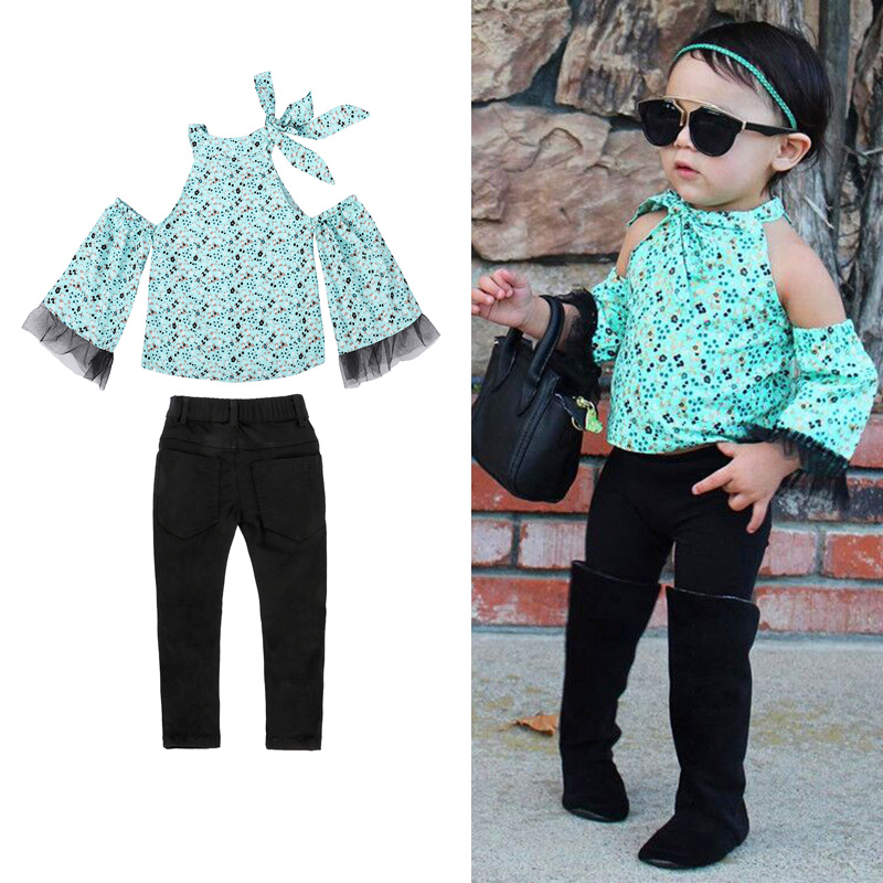 2pcs Princess Clothes Set For Chidren Girls Shirt + Trousers Autumn Clothing Set Kids Floral Chiffon Shirt Pants Crianca Roupas