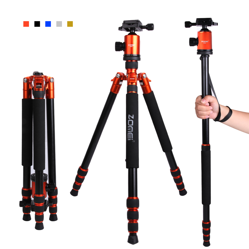 F16301 ZOMEI Z-888 Professional Portable Aluminum DSLR Camera Tripod Traveling Camcorder Monopod Ball Head & Carrying Bag new professional portable aluminum tripod for dslr camera camcorder travel tripod stand removable monopod with ball head