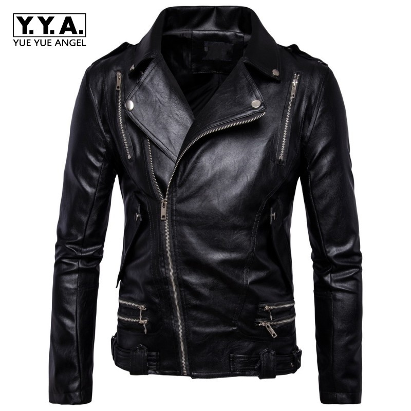 Top Brand Fashion Multi Zipper Punk Faux Leather Jacket Men Buckle Epaulet Design Autumn Windbreaker Hombre Coat Plus Size M-5XL