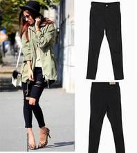 Дружок джинсы для женщин летнего стиль тощий Mujer Thiny разорвал карандаш классический Feminina черная кнопка демин высота талии брюки