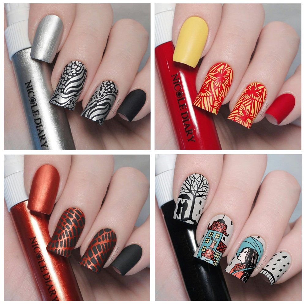 Image 3 - NICOLE DIARY 3pcs/set Nail Stamping Plate Stamper Scraper Geometric Coconut Flower Images Stamp Template Manicure Art Stencil-in Nail Art Templates from Beauty & Health