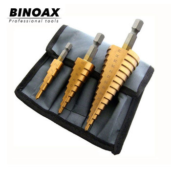 цена на BINOAX 3Pcs Metric Spiral Flute Step HSS Steel 4241 Cone Titanium Coated Drill Bits Tool Set Hole Cutter 4-12/ 20/ 32mm + Pouch