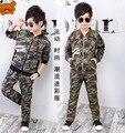 Весна осень мальчики одежда набор куртка брюки дети камуфляж Армия Обучение Одежда детская повседневная одежда спортивный костюм спортивный костюм