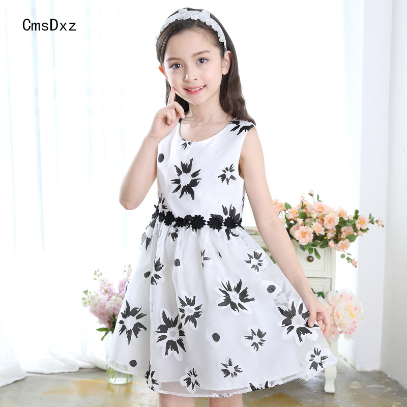 CmsDxz Flower Girl Dress For Girls Princess Birthday Party Dresses Kids Cute Girl Summer Dress 2017 New Children Clothes Gift 2016 new girls clothes 100% cotton cute pink gray lace dress for the girl princess dress art bowknot sleeveless dress