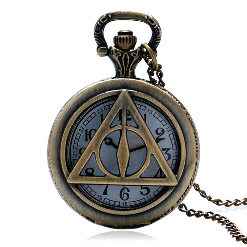 Antique Bronze Quartz Pocket Watch Style Hollow Triangle Tripod Design Men WomenWatches Retro Pendant Fob Clock White Dial Gifts